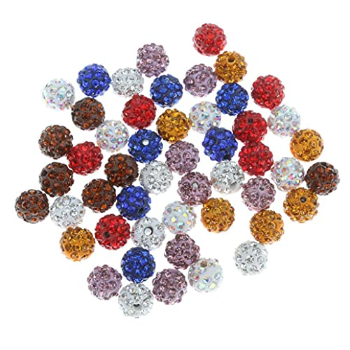 50 sztuk 10mm Crystal Pave Disco Ball Clay Rhinestone Spacer Koraliki Polimer OkrÄ…gÅ'y urok Koraliki Dostawy do tworzenia biżuterii - Mieszany kolor