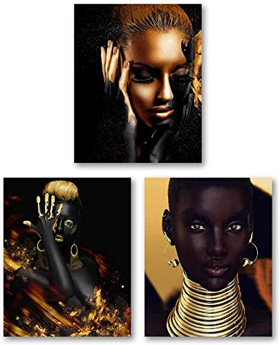 SXXRZA wall pictures 3 piece 23.6x31.5in(60x80cm) No Frame African American Wall Art Painting Golden Earrings Necklace Black Woman Room Poster Bedroom for Home Decor
