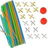 90 Piezas Juegos De Mikado Pick Up Sticks con 2 Juegos Jacks Game Toys...