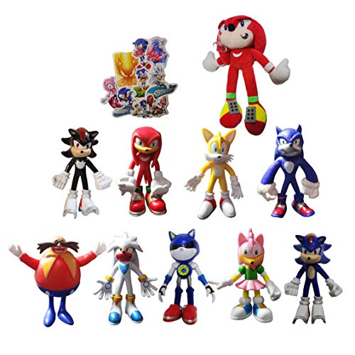 Figura 9 unids/set figura + 1 plush Peluche Game The Super Sonic Toy Erizo Peluches Peluches Brinquedos Bebé Niños Almohadas suaves