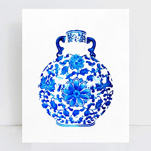 Chinoiserie Vase Glam orchid Flowers Wall Art Poster Print Watercolor Oriental Vase Blue White Willow Style -  OMGPOPART