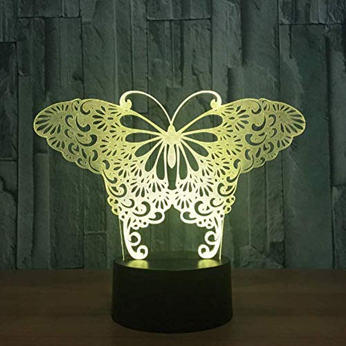 3D Ilusión Optica Luz Nocturna Led Lámpara De Mesa De Cabecera Mariposas Con Toque Mando A Distancia 7 Colores Cambiantes Regalos Perfectos Para Niños Navidad