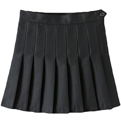Damen Teens Faltenrock mit hohen Taille Gefalteten Minirock Schulmädchen-Stil Uniform Rock Frauen A-Line Röcke Ausgestelltes Tennis Skater Beiläufige Röcke Skorts mit Innenhose Schwarz 36