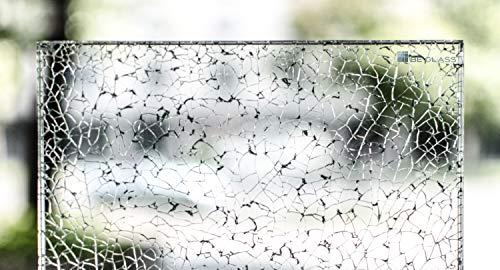 Crash-Glass nach Maß, 21mm Dicke, aus Weissglas mit reduziertem Grünanteil. Attraktive Bruchglas-Netzoptik. Bis 110 x 110 cm (1100 x 1100 mm). Kanten geschliffen und poliert.