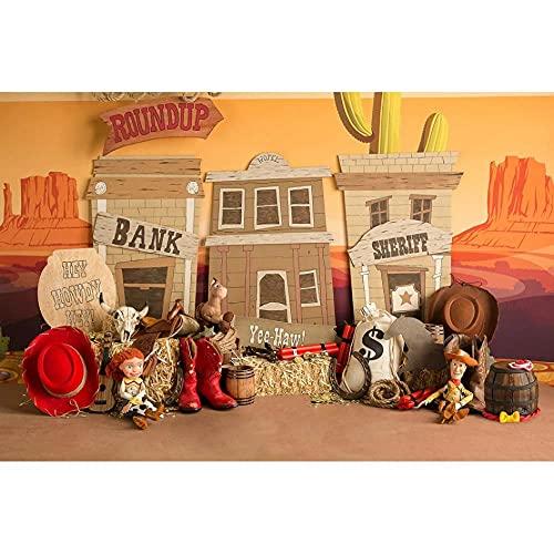 Telón de Fondo de Vaquero para niños 1er cumpleaños para fotografía Fondo de Fiesta de recién Nacido Gorro de Ducha de bebé Cactus Desierto México Telones de fondo-250x180cm