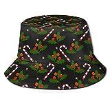 Sombrero de Cubo Unisexo Elementos Navideños con Bastones de Caramelo Hojas y Bayas de Acebo Gorra de Pescador con Sombrilla Estampada Adornada