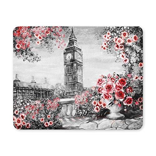 London Gentle City Landscape Flower Rose Big Ben England Desktop Mousepad Laptop Mousepads Comfortable Computer Mouse Mat