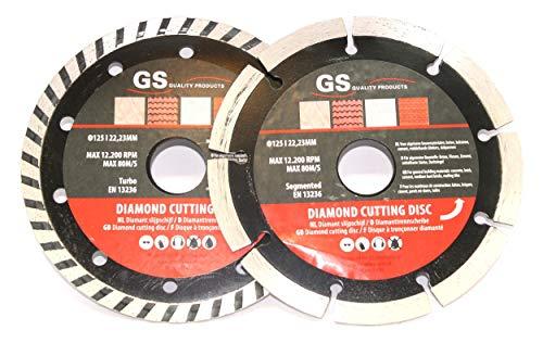 Slijpschijf diamant 125 mm - 2 stuks - diamantslijpschijf/zaagblad tbv haakse slijper