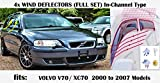 OEMM - Set di 4 deflettori d'aria per auto, compatibili con VOLVO V70...