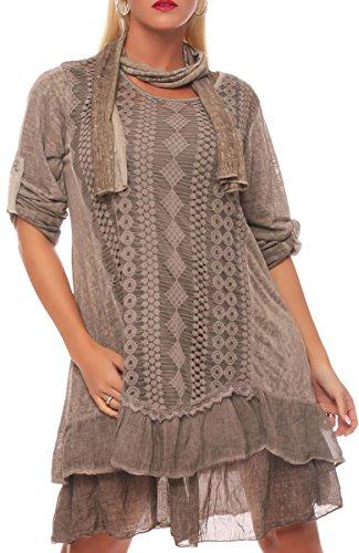Malito Damen Strickkleid mit Schal   Maxikleid mit Spitze   schickes Freizeitkleid   Pullover - Kostüm 6283 (Fango)