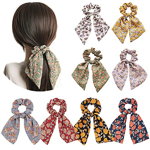 8 Uds, Coleteros elásticos para el cabello de gasa, coleteros con flores, bandas para el cabello, accesorios para el cabello para mujeres y niñas
