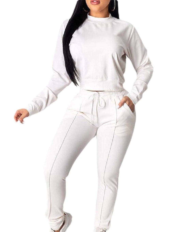 パーフェルビッド過剰凶暴なレディーストラックスーツ ロングスリーブ プルオーバー クロップ トップ ロングパンツ スウェットスーツ ジョガー セット 2ピース 衣装
