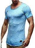 Leif Nelson Herren Sommer T-Shirt Rundhals-Ausschnitt Slim Fit Baumwolle-Anteil Moderner Männer T-Shirt Crew Neck Hoodie-Sweatshirt Kurzarm lang LN6281-1 Verw. Baby Blue XX-Large