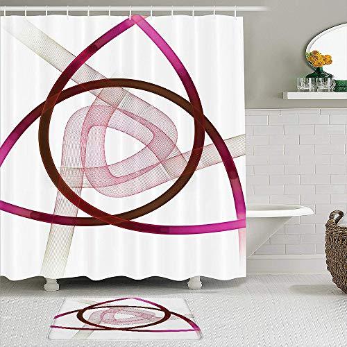 SUDISSKM de alfombras de baño con Cortinas de Ducha Alfombrillas de baño Antideslizantess,Patrón Abstracto de tecnología extraña con patrón Nuclear de líneas dobladas de Agujero futurista