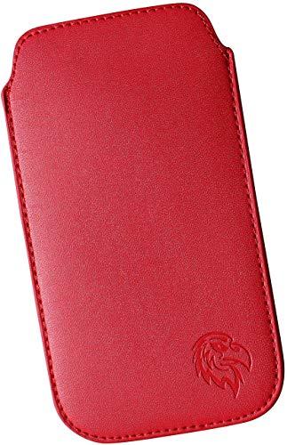 Dealbude24 Schutz Tasche für Samsung Galaxy S20 FE, Handytasche Hülle Handy herausziehbar, dünnes Etui genäht mit Rausziehband, innen weiches Microfaser mit exklusiv Adler Motiv XXL Rot