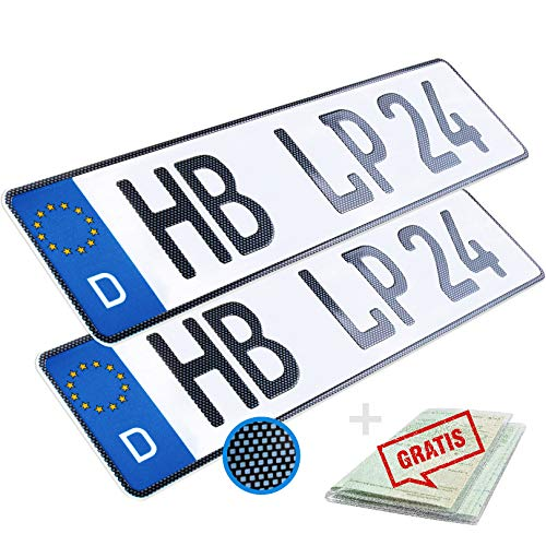 L & P Car Design KFZ Kennzeichen 2 Stück 52cm x 11cm in Carbon Optik Nummernschild 520mm x 110mm Wunschkennzeichen DIN Autokennzeichen Fahrradträger Anhänger LKW Wunschprägung amtliches Autoschild