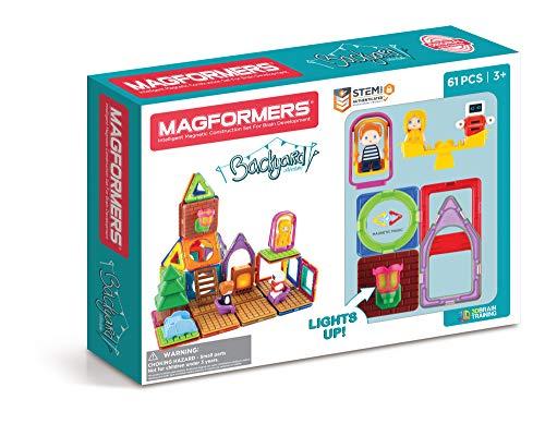 Magformers Backyard Adventure 61Pc, Magnet Building Block STEM Kids Toy, Award-Winning Educational Magnetic Tiles for Children Age 3 4 5 6 7 Gift (63188) , Rainbow