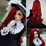 1/4 Bjd Wig Size 7-8 inch 1/4 High-Temperature Wig Girl Long Wave Curly Red Color Doll Hair SD BJD Doll Wig
