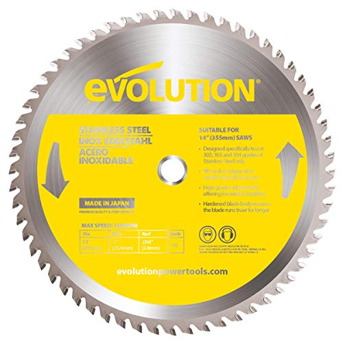 Evolution Power Tools 14BLADESS Stainless Steel Cutting Saw Blade, 14-Inch x 90-Tooth Carbide Cutting Saw Blade
