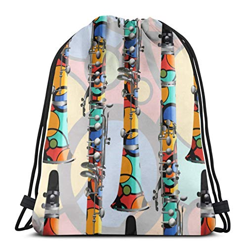 Clarinete Lámpara Colorido Clarinete Diseño Música Bolsas de Cordón Bolsa de Gimnasio Bolsa de Cordón Deportes Bolsa de Viaje Bolsa de Regalo