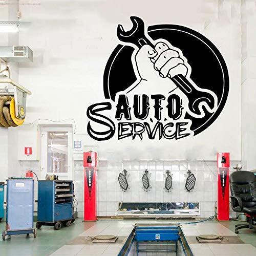 zqyjhkou Auto Service Fenster Vinyl Cut Aufkleber, Reifen, Reparatur, Autowäsche, Auto, Selbstklebende Wandtattoo, Wandbilder DIY 65x57cm