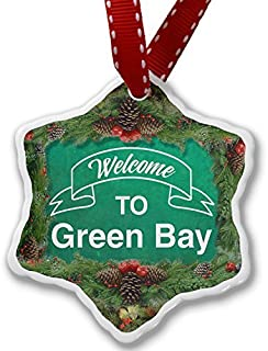 VinMea Christmas Ornament Green Sign Welcome to Green Bay Xmas Decorative Hanging Ornament