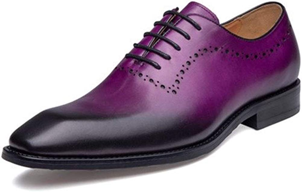 Rui Landed Hand-Made Oxford for Men Derby Shoes Lace Up Style Carving Premium Genuine Leather Pointed Toe Retro Color Block Heel Casual Business