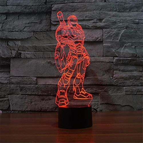Iron Man 3D LED tafellamp Action Figuren compleet uitgerust met 7 kleuren Touch Illusion optische tafellamp Home