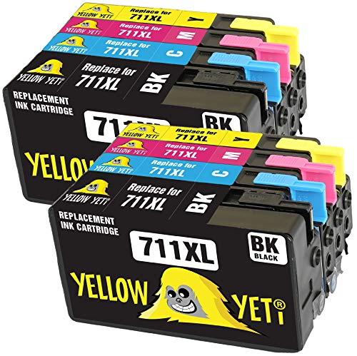 Yellow Yeti Sostituzione per HP 711 711XL Cartucce d'Inchiostro compatibili con HP DesignJet T120 T520 (2 Nero + 2 Ciano + 2 Magenta + 2 Giallo)