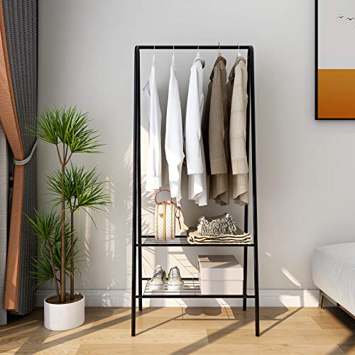 Industrial Clothing Garment Rack Metal Heavy Duty Rail Clothes Rack Organizer 2Tier Storage Shelf for Shoes Boots Commercial Grade Entryway Shelving Unit for Living Room Bedroom Black