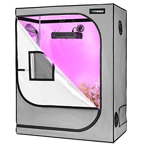 """VIVOSUN 48""""x24""""x60"""" Grow Tent with Observation Window and Floor Tray, Mylar hydroponic Tents for Plants 4x2 FT"""