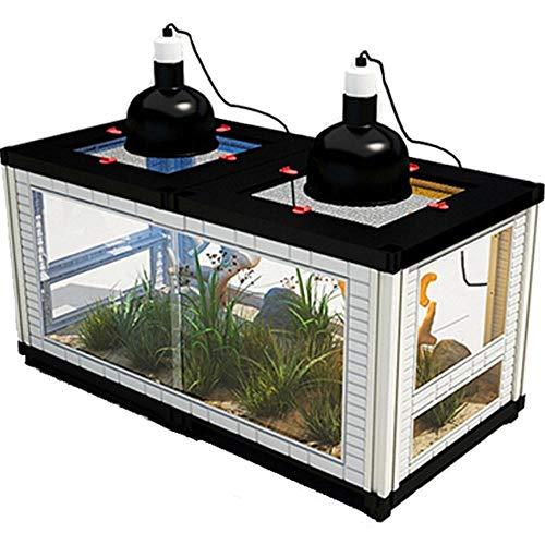 Terrarium Für Reptilien & Amphibien, DIY Kombinationsinkubator Faunarium Hornfrosch Eidechse Schlange Chamäleon Spinne Winter Lebensraum Terrarium Komplettset 80x40x50cm