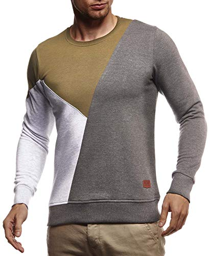 Leif Nelson Herren Sweatshirt Basic Pullover Rundhals-Ausschnitt Longsleeve Langarmshirt für Männer Pulli Rundkragen Langarm Crew Neck Slim Fit LN8336 Größe M Khaki