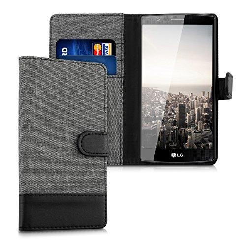 kwmobile Hülle kompatibel mit LG G4 - Kunstleder Wallet Hülle mit Kartenfächern Stand in Grau Schwarz