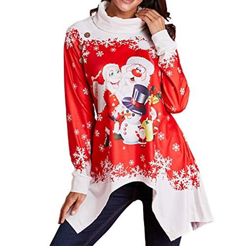 For Sale! RUIVE Women's Red Christmas Pullover Snowflake Print Cowl Neck Asymmetric Santa Claus Xmas Sweatshirt Tunic Tops