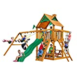 Gorilla Playsets 01-0003-AP Chateau Swing Set with Wood Roof, Wave Slide, and Rock Wall, Amber