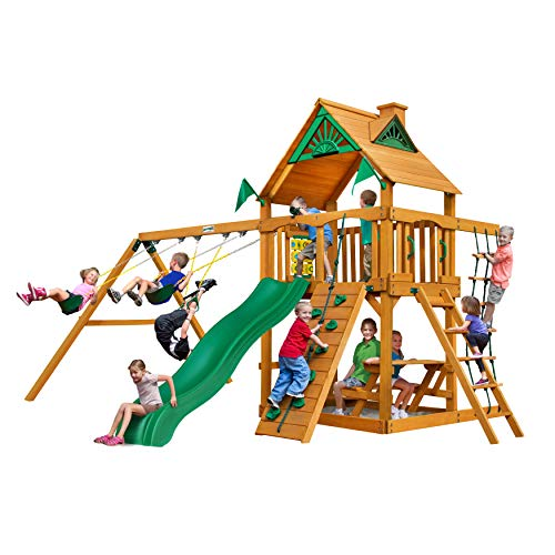 Gorilla Playsets 01-0003-AP Chateau Swing Set with Wood Roof, Wave Slide, and...