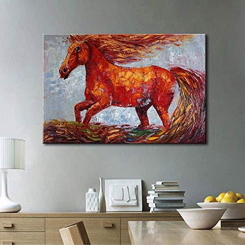 Sumianyh 100% handgeschilderd olieverfschilderij handgeschilderd eenvoudig dierenteken paard in galop woonkamer slaapkamer terras aan de muur gang decoratief schilderwerk muurschildering 80×120cm