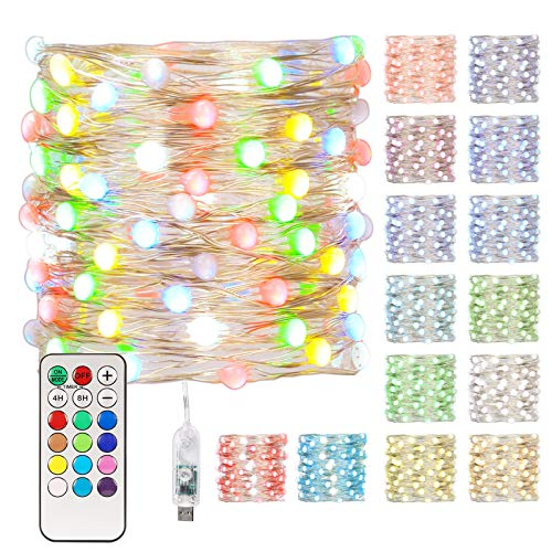 MiaoWoof USB Fairy Lights, Valentine Lights, 33Ft, 100 LED, Waterproof color changing Twinkle Lights with Remote Control, 12 Lighting Modes, 12 Colors, Decor for Easter Valentine Bedroom Wedding Party