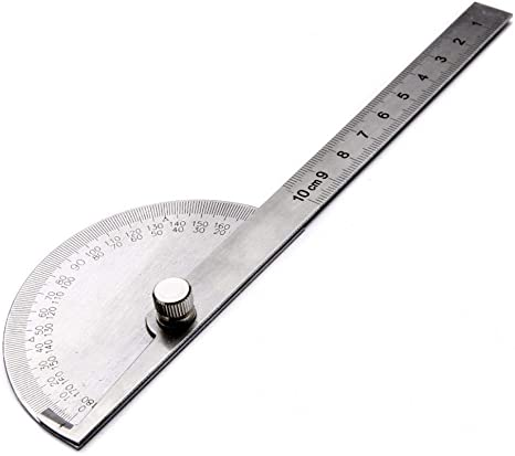 Stainless Steel 180 Degree Protractor Angle Finder Ruler Rotary Measuring Tool