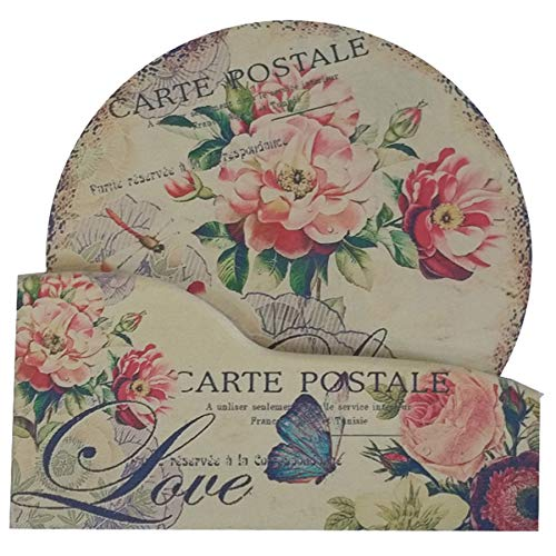 Coralpearl Large Coasters for 6 Cup Drinks Absorbent with Holder, Round Wood Trivet Mat Set, Hot Pad Rest Heat Resistant for Dishes Plates Pots Pans Skillet, Kitchen Table Countertops (6' Flowers)