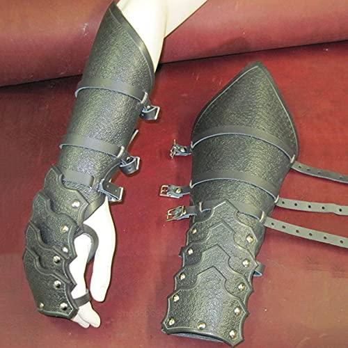 hetang Ccosplay Arnés de cuero gótico Guerrero Larp Caballero Brazo de muñeca Vendaje de cuero Armadura Remache Steampunk Archer Guantelete (color 2, tamaño: talla única)