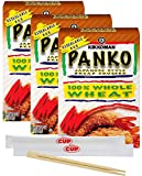Kikkoman Whole Wheat Panko Japanese Style Bread Crumbs, 8 Ounce Box (Pack of 3) with 2 Sets of By The Cup Chopsticks