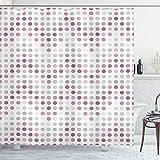 ABAKUHAUS Mauve Duschvorhang, R&e r&e Formen Punkte, mit 12 Ringe Set Wasserdicht Stielvoll Modern Farbfest & Schimmel Resistent, 175x200 cm, Lila & Grau