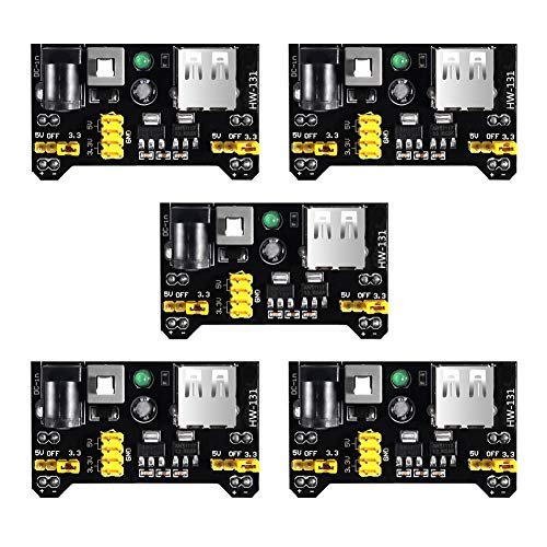 MELIFE 5pcs MB102 3.3V/5V Breadboard Power Supply Module for Arduino Board Solderless Breadboard