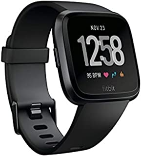 Fitbit Versa Smart Watch, Black/Black Aluminium, One Size (S & L Bands Included)