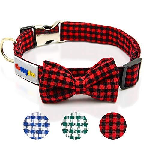 Etechydra Hundehalsband mit Fliege, Langlebiges Bequemes Baumwolle Halsband mit Metall Steckverschluss für Hunde und Katzen, Hundehalsband Rot M
