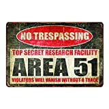 Back Rise Tin Sign Warning Area 51 No Trespassing 11.8 7.8 inches,Bar Cafe Home Oil Station Garage Kitchen Farm Countryside Vintage Retro Tin Signs,Signs for Home Decor Wall, Rectangle Metal Signs.