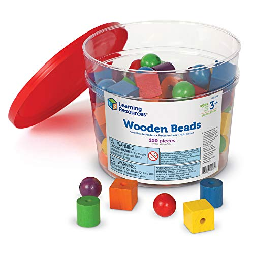 Learning Resources Beads in a Bucket Set of 110 (108 Beads and 2 Laces)