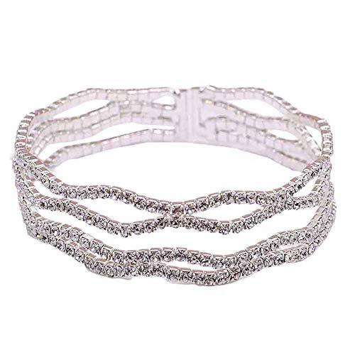 Yosemite - Pulsera de lujo para mujer, multicapa, diamantes de imitación incrustados, para fiesta, boda, regalo de cumpleaños para niña, 1#